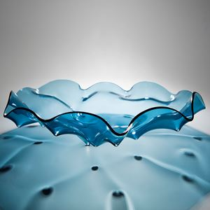 aqua blue art glass bowl sculpture with rippled edge pattern