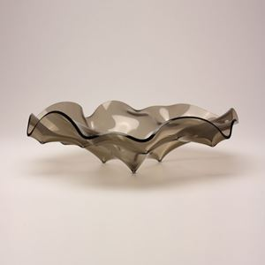 bronze grey art glass low bowl sculpture with rippled shape