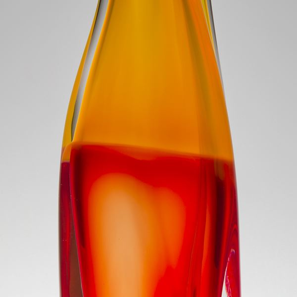 tall modern art glass vase sculpture in orange and red