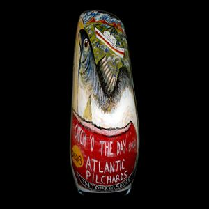 hand painted glass artwork of atlantic pilchard bird