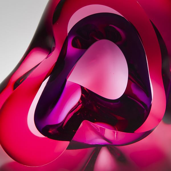 decorative modern handblown glass sculpture in pink and purple