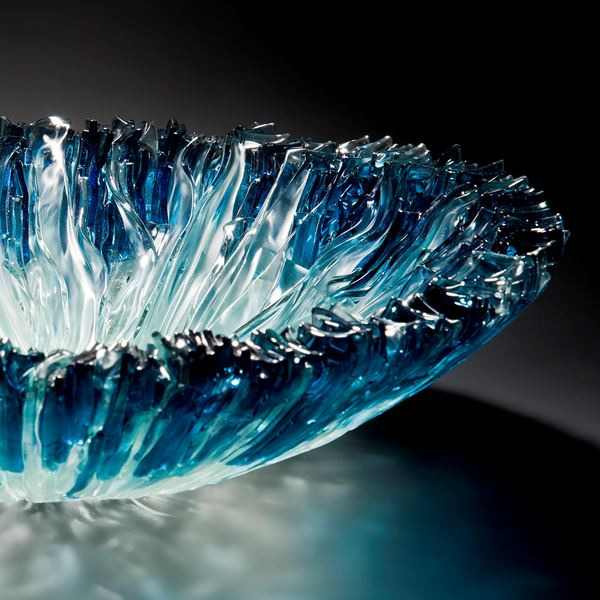 glass bowl sculpture from hand cut glass shards in aqua