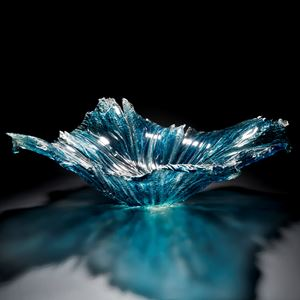 aqua art-glass bowl sculpture with protruding edges
