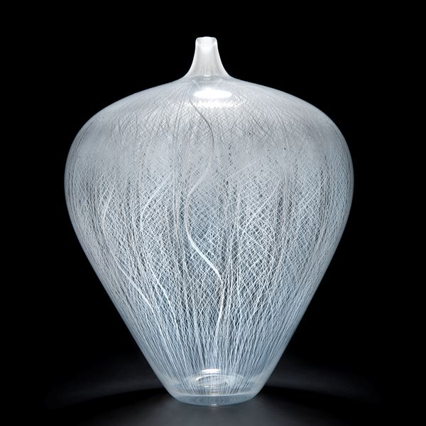 mouth blown white glass vase with cane pattern