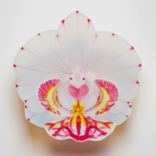 sculpted glass art for wall mounting of flower petal in white cream pink and yellow