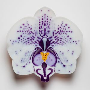 glass sculpture of white exotic flower with purple spots