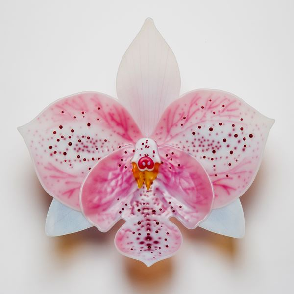 sculpted glass art of an exotic orchid in white and pink
