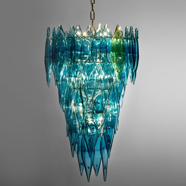 art glass chandelier in white glass and steel