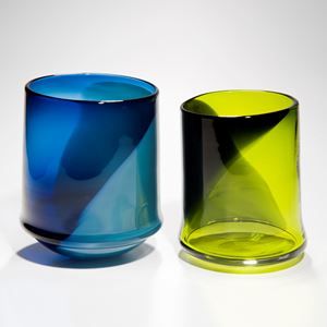 assortment of glass art pots in bright colours