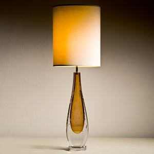 table lamps with hand blown glass base in aubergine and blue