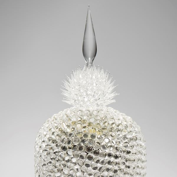 tall crystal coloured art-glass sculpture centrepiece of abstract botanical shape