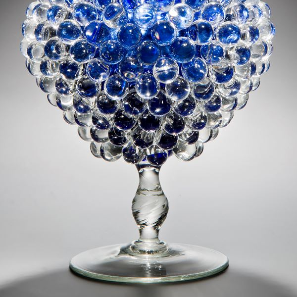 glass art centrepiece jar sculpture with long base