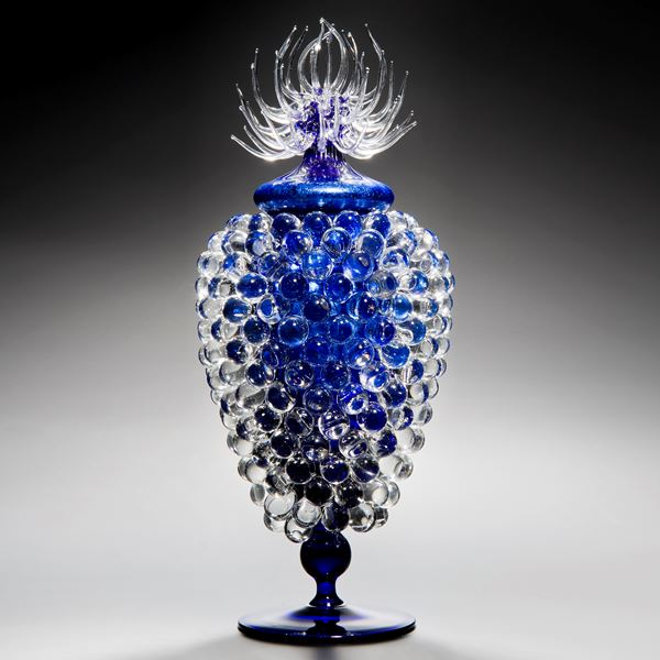 art glass jar sculpture with long base and thistle top