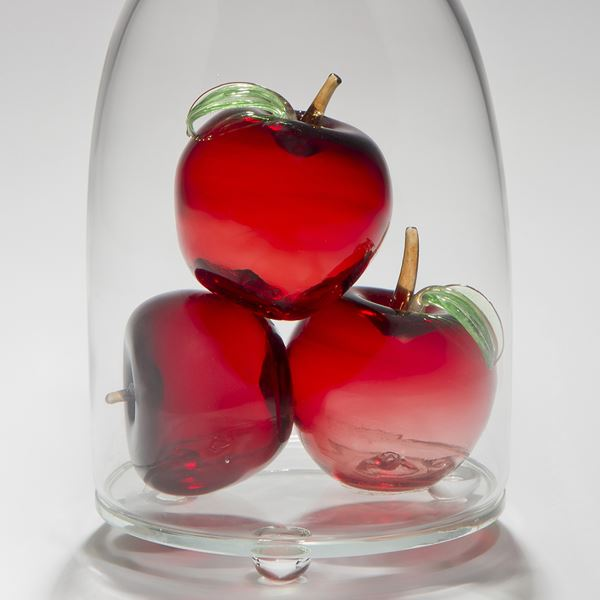 glass and steel sculpture of three apples inside glass container with a crow peering on top looking in