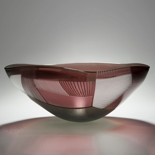 pink and grey coloured art glass bowl sculpture