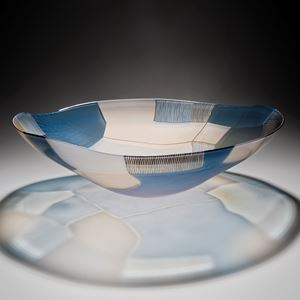 glass art bowl sculpture in blue and white with gold trim