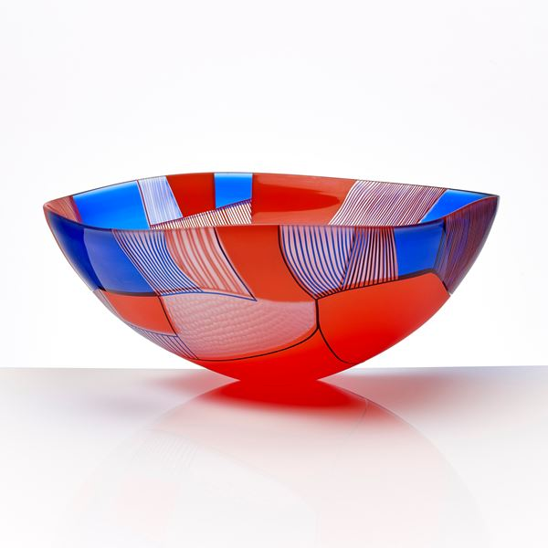 glass art bowl sculpture in red blue and white