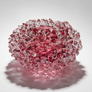handblown glass ornamental art sculpture in pink of crystal flower form