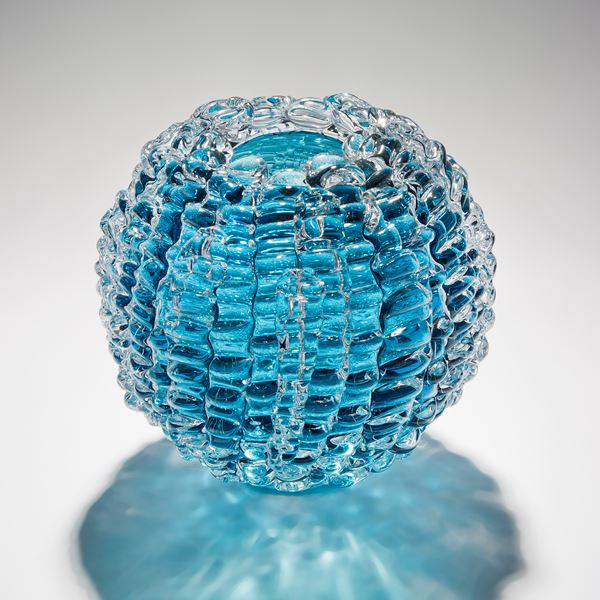 aqua blue handblown and sculpted spherical glass centrepiece made from small rectangular shards