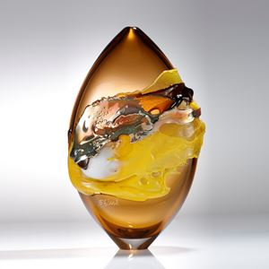 oval shaped sand coloured modern handblown art-glass sculpture