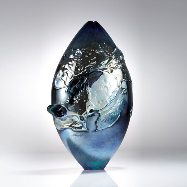 handblown contemporary glass art sculpture urban metallic blue