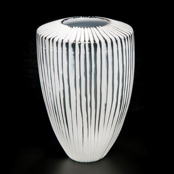 contemporary crystal coloured handblown art-glass vase centrepiece