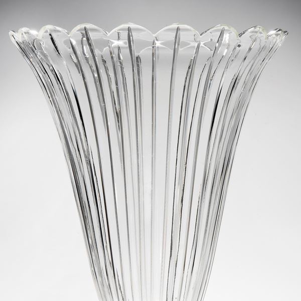 decorative clear glass vase sculpture with wide base and gold trim