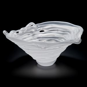 frosted glass bowl sculpture in absract cone shape