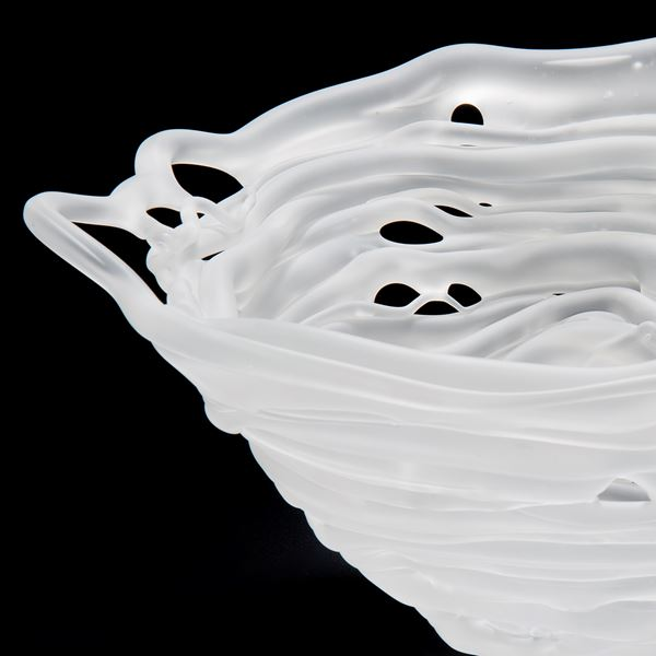 frosted white glass conical bowl sculpture