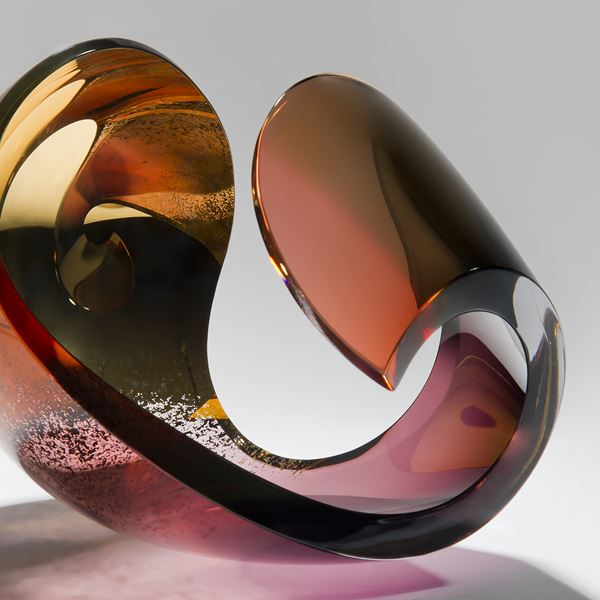 contemporary art glass sculpture centrepiece in rust terracotta and gold