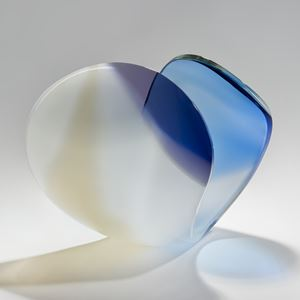 minimalist elegant handblown and cut glass sculpture scandinavian
