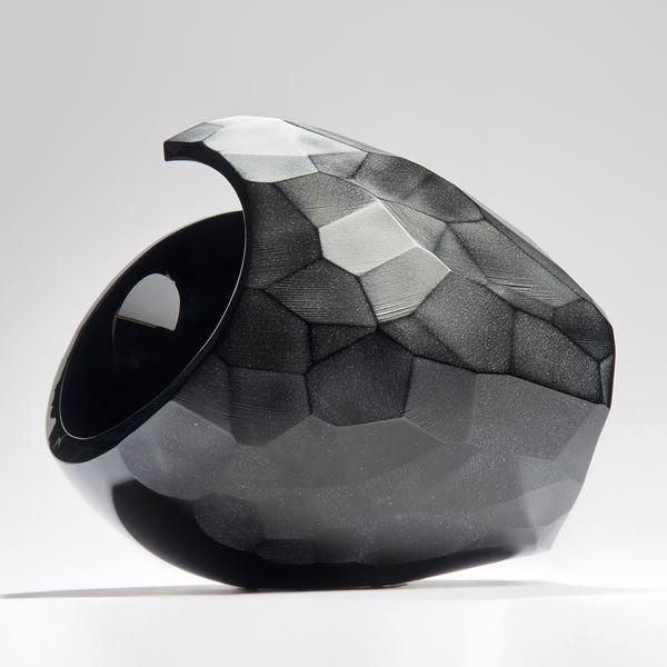 modern abstract art glass centrepiece sculpture in black