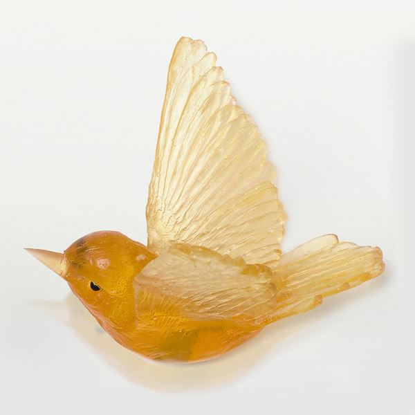 sculpted glass models of birds in various pastel colours