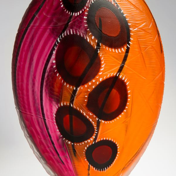 glass vase sculpture in orange and pink with blood red blobs
