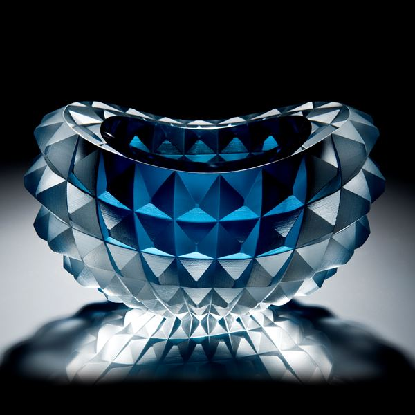 art glass bowl with pyramid stud shaped exterior in aqua and white