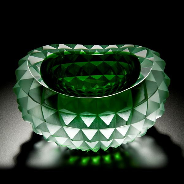 art glass bowl with pyramid stud shaped exterior in green and white