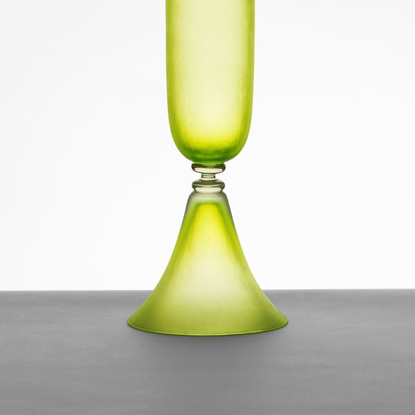 lime coloured tall blown art glass vase