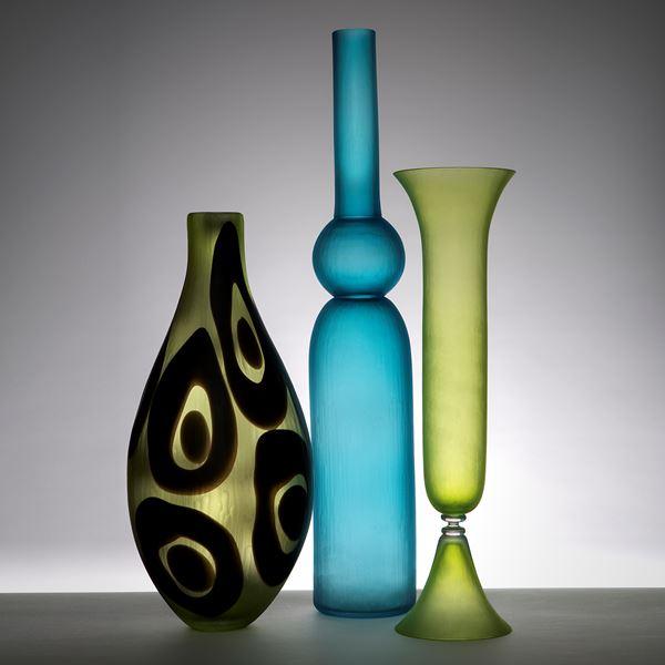 lime coloured tall blown art glass vase