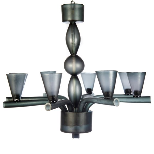 grey steel frame chandelier with blown glass cup holders