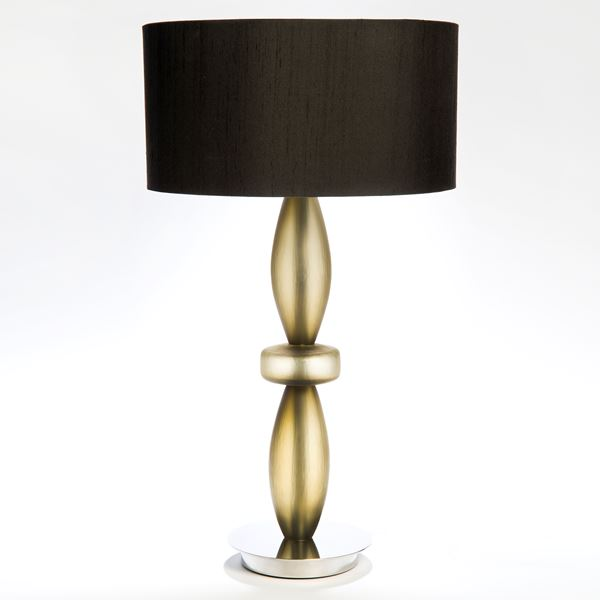 table lamp with gold steel base and black cut glass lampshade