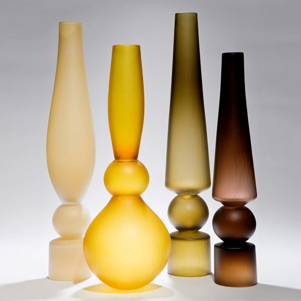 selection of tall minimalist blown glass vases in different colours