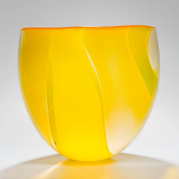 sculpted art glass short vase in bright yellow