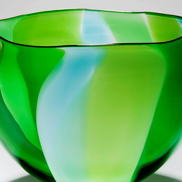 bright green art glass sculpture or bowl or vase