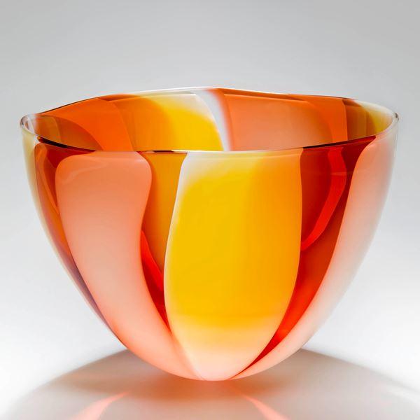 orange and red art glass bowl or vase sculpture