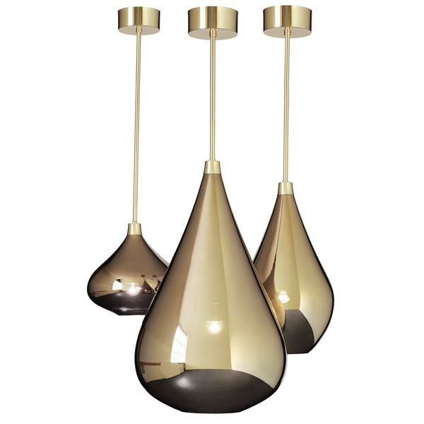 three gold lustred glass pendant light fittings in small medium and large