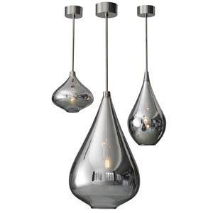 three platinum glass pendant lights hung from nickel plated poles