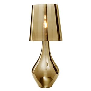 drop based table lamp in gold