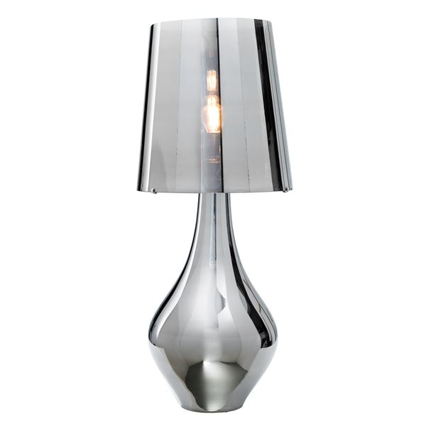 drop based table lamp in platinum
