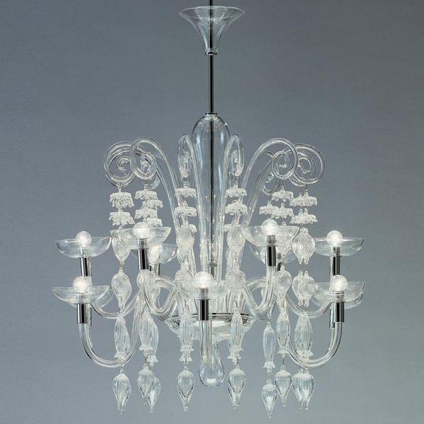 decorative art glass chandelier in crystal