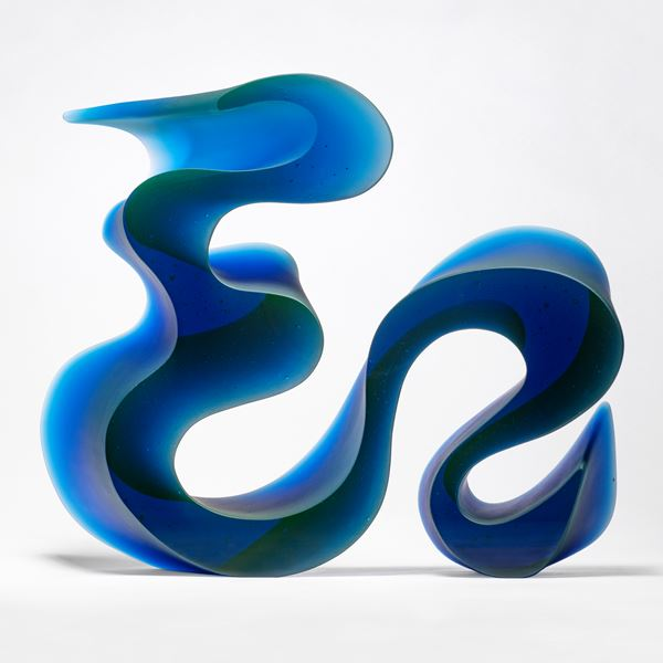 abstract geometrical contemporary sculpture in blue cast glass